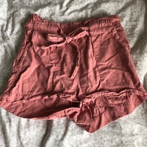 Pink High-Waisted Paperbag Shorts